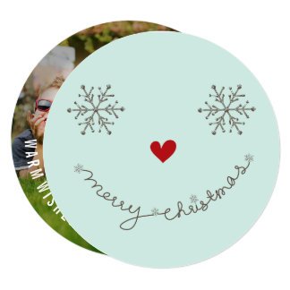"""Merry Christmas Happy Smiley Holiday Photo Card 5.25"""" Square Invitation Card"""