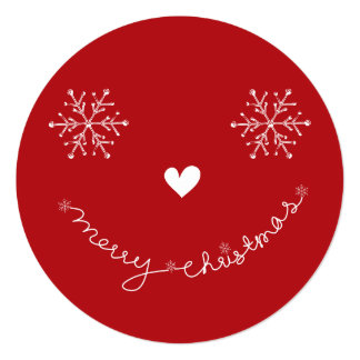 "Merry Christmas Happy Smiley Holiday Photo Card 5.25"" Square Invitation Card"