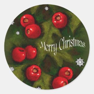 Merry Christmas, Hawhtorn Berries, Original Art Classic Round Sticker