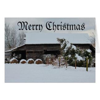 Merry Christmas Hay Barn Card