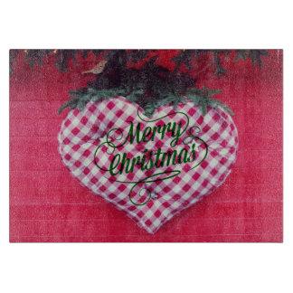 Merry Christmas Heart Cutting Board