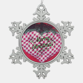 Merry Christmas Heart Pewter Snowflake Ornament