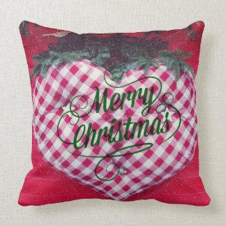 Merry Christmas Heart Pillow