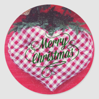 Merry Christmas Heart Round Sticker
