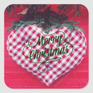 Merry Christmas Heart Square Sticker