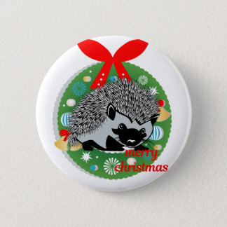 merry christmas hedgehog 2 inch round button