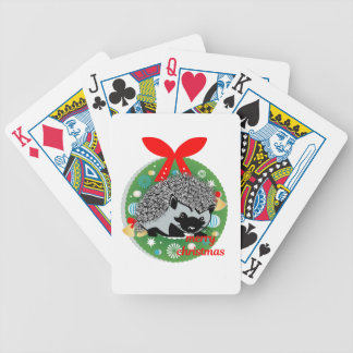 merry christmas hedgehog bicycle playing cards
