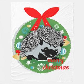 merry christmas hedgehog blanket