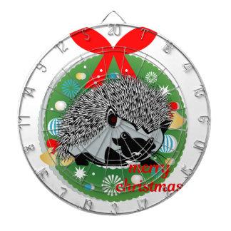 merry christmas hedgehog dartboard