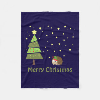 Merry Christmas Hedgehog Holiday Scene Fleece Blanket