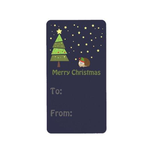 Merry Christmas Hedgehog Holiday Scene Label