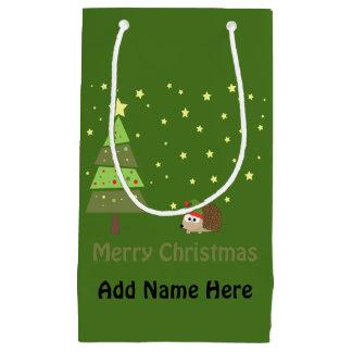 Merry Christmas Hedgehog Holiday Scene Small Gift Bag