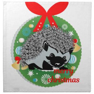 merry christmas hedgehog napkin