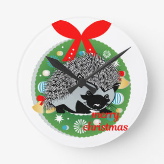 merry christmas hedgehog round clock