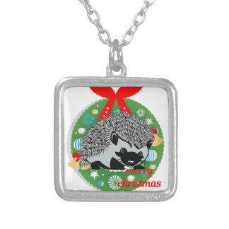 merry christmas hedgehog silver plated necklace