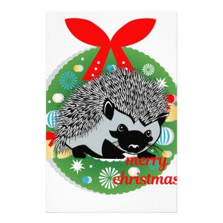 merry christmas hedgehog stationery
