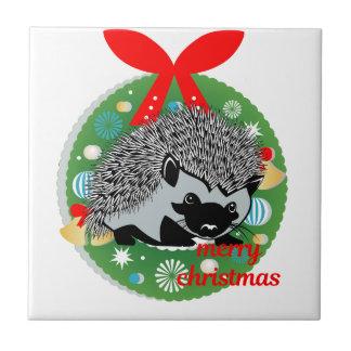 merry christmas hedgehog tile