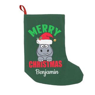 Merry Christmas Hippo Cute Custom Small Christmas Stocking