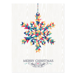 Merry Christmas Hipster Triangle Snowflake Postcard