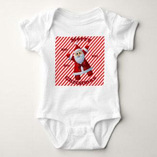 Merry Christmas HO! HO! HO! Santa Claus Candy Cane Baby Bodysuit