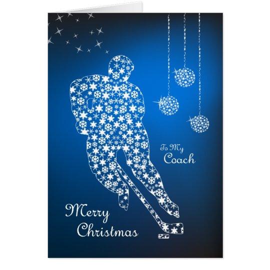 Merry Christmas Hockey Coach Snowflakes Card