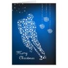 Merry Christmas Hockey Snowflakes Greeting Card