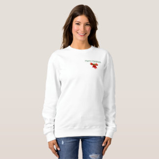 Merry Christmas Holiday Bow and Holly Sweatshirt