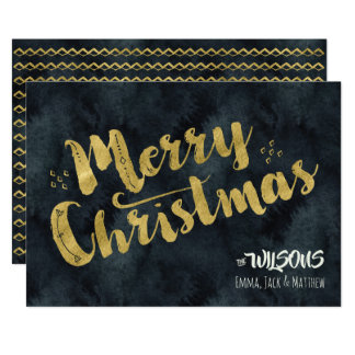 Merry Christmas Holiday Card - Black & Gold