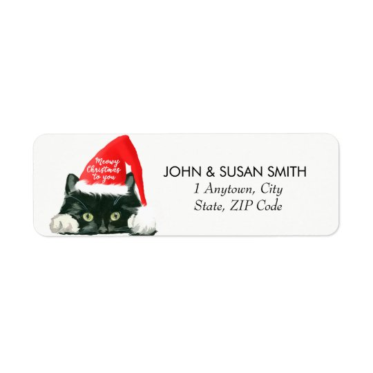 Merry Christmas holiday cat return address labels