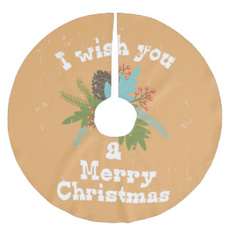 Merry Christmas Holiday Decor Brushed Polyester Tree Skirt