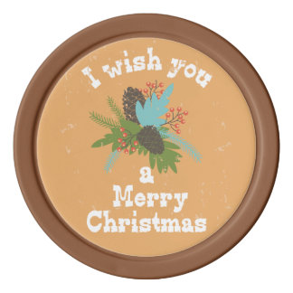 Merry Christmas Holiday Decor Poker Chips