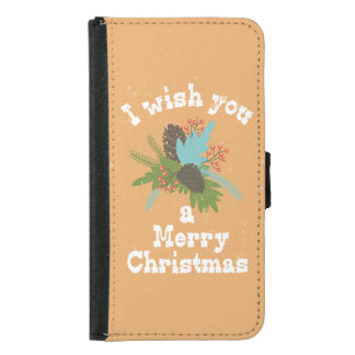 Merry Christmas Holiday Decor Samsung Galaxy S5 Wallet Case
