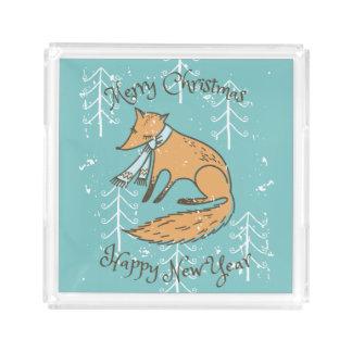 Merry Christmas Holiday Fox Cozy Acrylic Tray