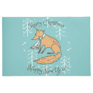 Merry Christmas Holiday Fox Cozy Doormat