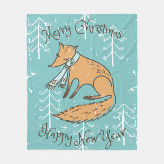 Merry Christmas Holiday Fox Cozy Fleece Blanket