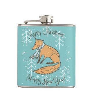 Merry Christmas Holiday Fox Cozy Hip Flask