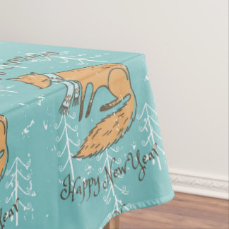 Merry Christmas Holiday Fox Cozy Tablecloth