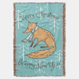 Merry Christmas Holiday Fox Cozy Throw Blanket