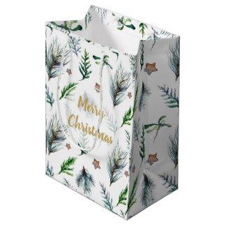 merry christmas holiday gift bag mistletoe pine