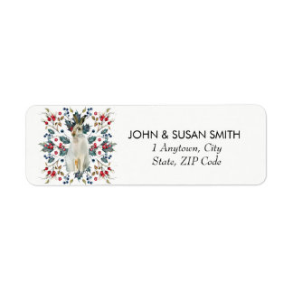 Merry Christmas holiday hare return address labels