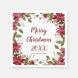 merry christmas holiday napkin poinsettia disposable napkins
