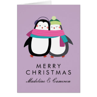 Merry Christmas | Holiday Penguins Card
