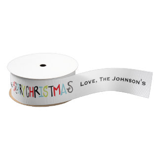 Merry Christmas | Holiday Personalized Ribbon Grosgrain Ribbon