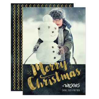 Merry Christmas Holiday Photo Card - Black & Gold