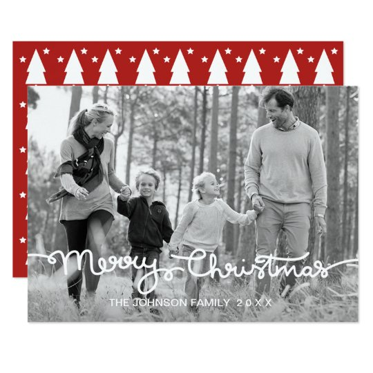 Merry Christmas Holiday Photo Card | Hand Lettered