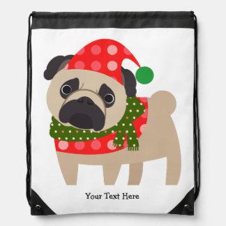 Merry Christmas Holiday Pug Dog Backpack