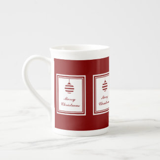 Merry Christmas Holiday Red And White Bauble Tea Cup