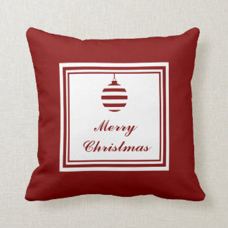 Merry Christmas Holiday Red And White Bauble Throw Pillow