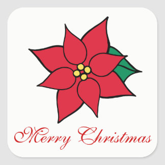 Merry Christmas Holiday Red Poinsettia Stickers
