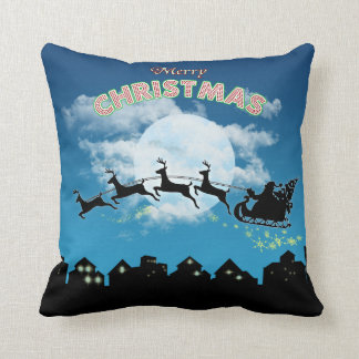 Merry Christmas Holiday Santa Blue Throw Pillow